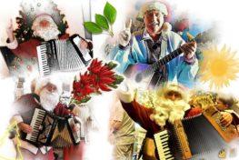 Kerstman met accordeon en gitaar - TopActs.nl